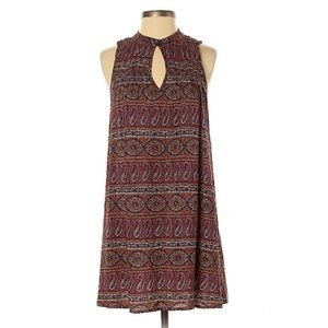 American Eagle Boho Shift Dress Paisley Key Hole